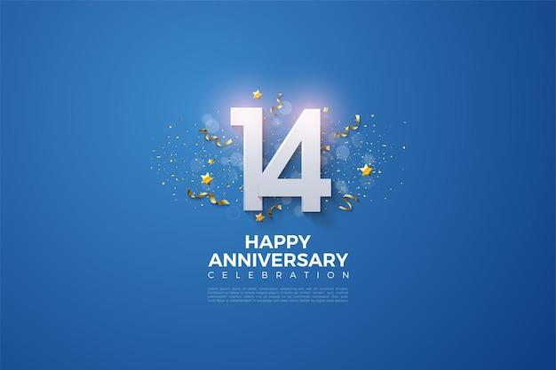 Il 14 ° anniversario con una festa di festa che adorna i numeri.