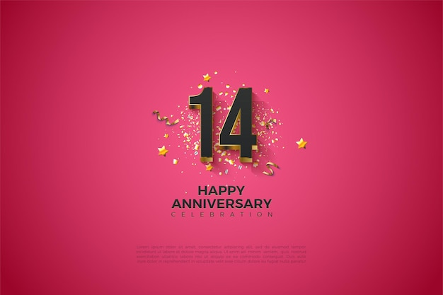 14 ° anniversario con numeri placcati in oro.