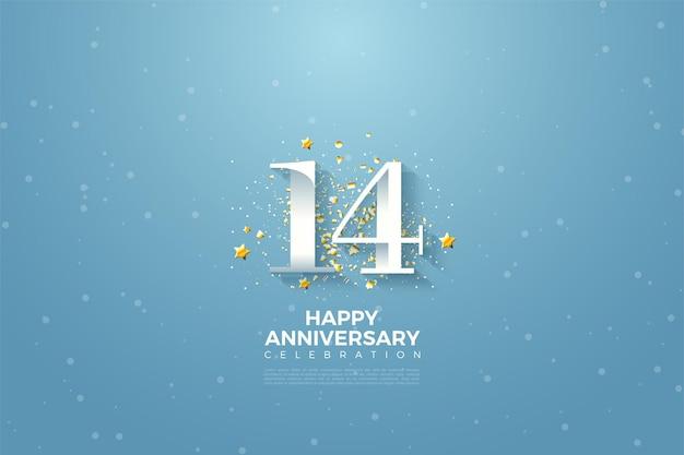14 ° anniversario con i numeri nel cielo blu.