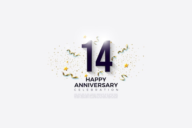 14 ° anniversario con numeri e festività.