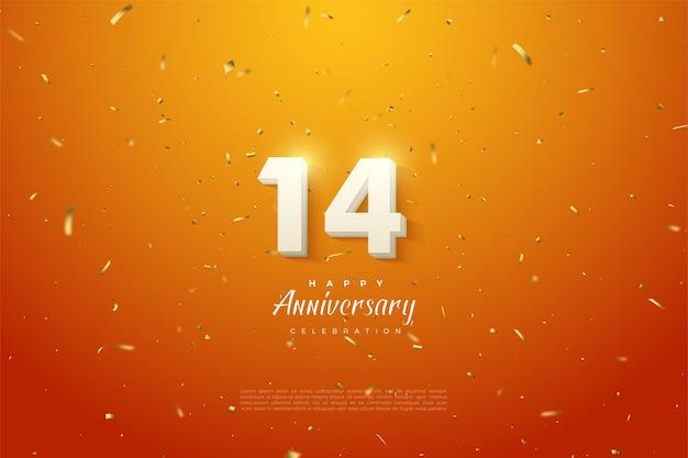 14 ° anniversario con numeri splendenti.
