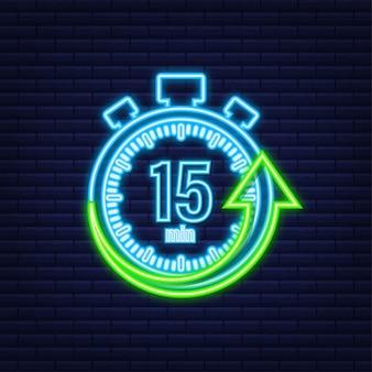 I 15 minuti, icona al neon di vettore del cronometro. icona del cronometro in stile piatto, timer su sfondo colorato. illustrazione vettoriale.