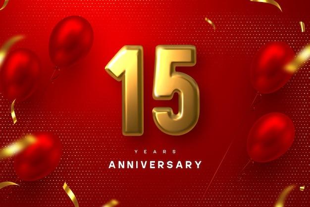 Bandiera di celebrazione di anniversario di 15 anni. 3d metallico dorato numero 15 e palloncini lucidi con coriandoli su sfondo rosso maculato.