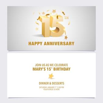 Carta di invito anniversario di 15 anni. disegno del modello con lettere volumetriche di colore dorato per il 15 ° compleanno