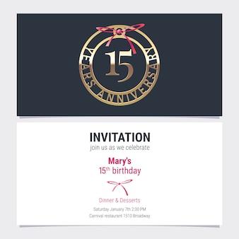 Invito di anniversario di 15 anni all'illustrazione di vettore dell'evento di celebrazione. elemento di design con numero e testo per il 15 ° compleanno, invito a una festa