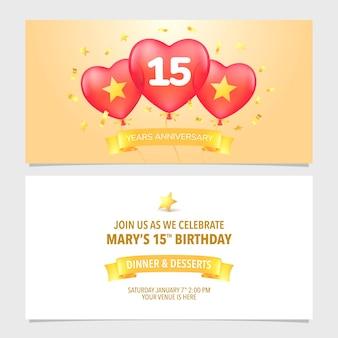 Illustrazione dell'invito per l'anniversario di 15 anni
