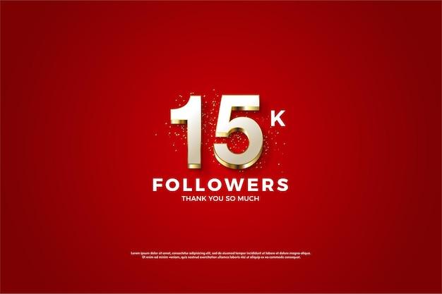 Sfondo di follower 15k con illustrazione di figure placcate oro lussuoso e lucido.
