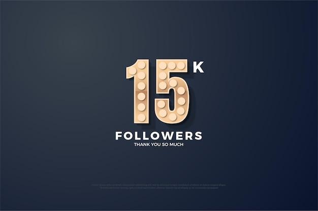 Sfondo di follower 15k con numeri nella lampadina con texture.
