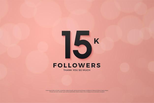 Sfondo di follower 15k con numeri neri e sfondo rosa.