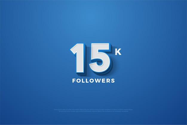 Sfondo di follower 15k con illustrazione dei numeri in rilievo su sfondo blu navy.