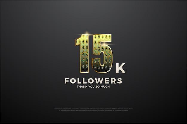 Sfondo di seguaci 15k con illustrazione di figura glitter oro.