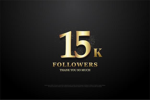 Sfondo di seguaci 15k con illustrazione numeri dorati illuminati.