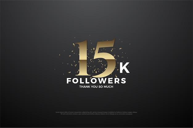 Sfondo di 15k follower con numeri e granelli di sabbia dorata intorno.