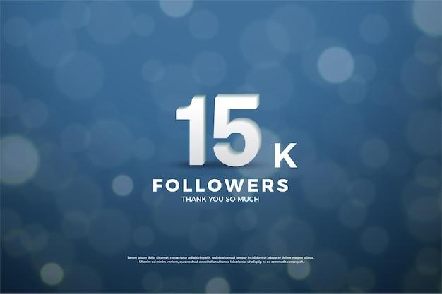 Sfondo di follower 15k con numeri bianchi sullo sfondo utilizzando vetro colorato blu navy.