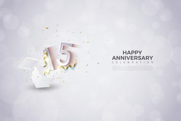 Sfondo del 15 ° anniversario con numeri che esplodono dalla confezione regalo.