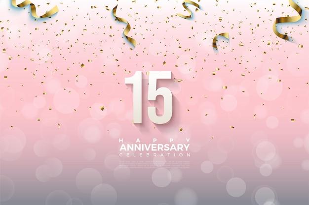 Sfondo 15 ° anniversario con numeri che cadono e carta dorata.