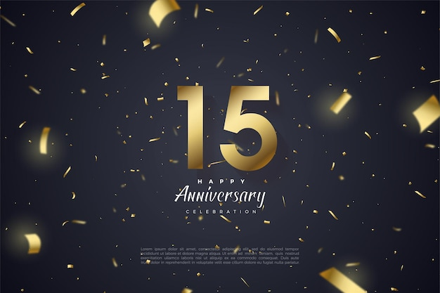 Sfondo del 15 ° anniversario con numeri d'oro su sfondo nero tempestato di carta dorata