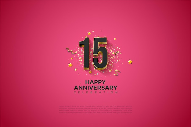 Sfondo del 15 ° anniversario con illustrazione di numeri neri in rilievo in oro.