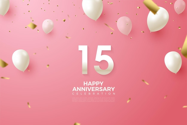 15 ° anniversario sfondo con illustrazione di numeri e palloncini bianchi volanti.