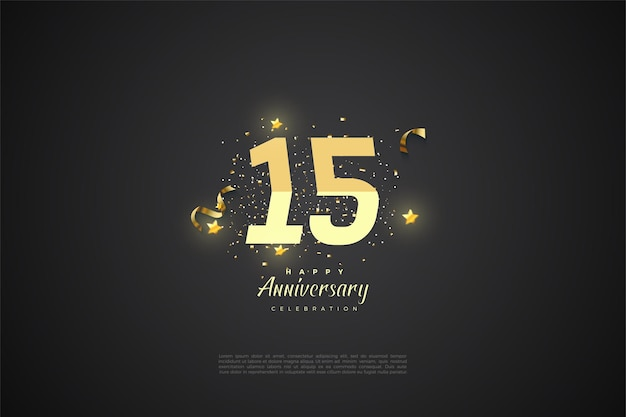 Sfondo del 15 ° anniversario con numeri classificati dal giallo.