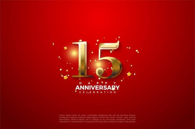 15 ° anniversario con numeri d'oro su fondo rosso