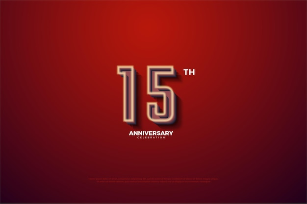 15 ° anniversario con numeri a strisce bianco latte