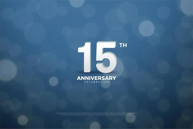 15 ° anniversario con numeri e sfondo blu scuro con effetto cerchio