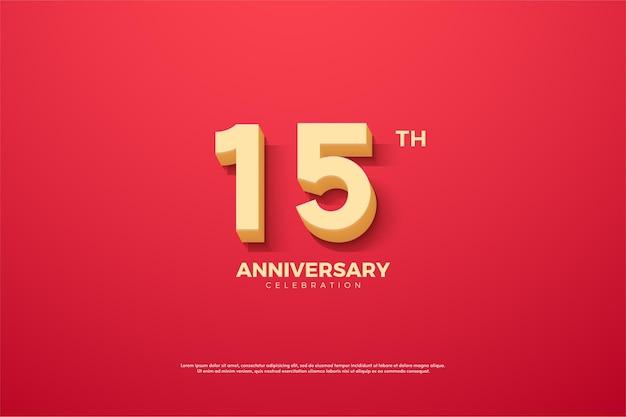 15 ° anniversario con numeri ombreggiati su sfondo rosso