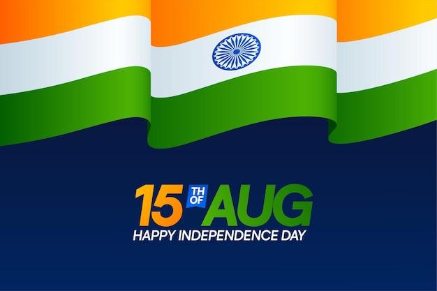 15 agosto giorno dell'indipendenza dell'india con design bandiera ondulata
