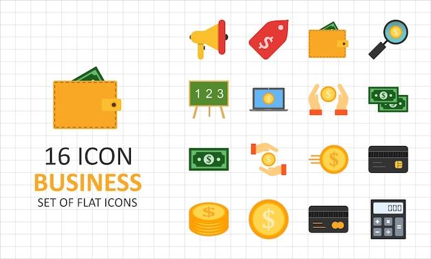 16 icone piane di affari piatto icona pixel perfetti