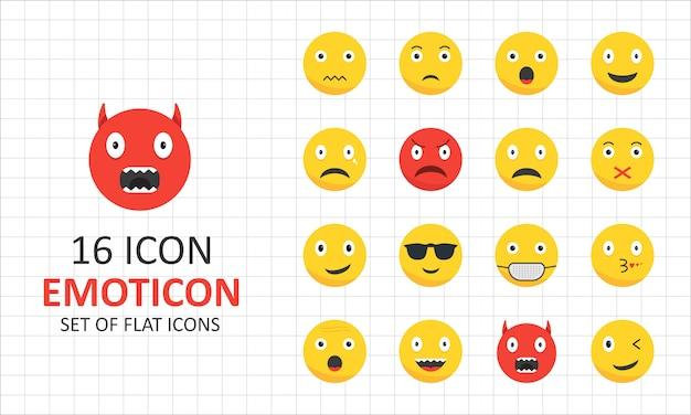 16 emoticon icona piana foglio pixel icone perfette