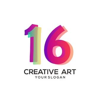 16 numeri logo design sfumato colorato