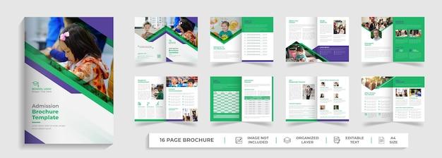 16 pagine torna alla progettazione del profilo aziendale del modello di brochure bifold per l'ammissione all'istruzione scolastica