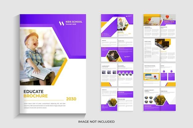 16 pagine per il design del modello di brochure per l'istruzione scolastica