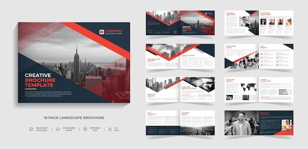 Progettazione del modello di brochure del paesaggio moderno creativo aziendale di 16 pagine