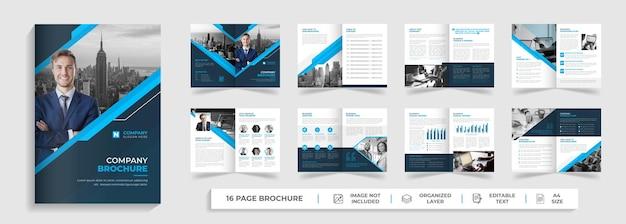Modello di brochure aziendale bifold moderno di 16 pagine profilo aziendale progettazione del rapporto annuale