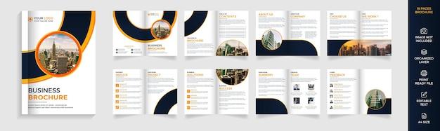Modello di brochure aziendale moderno di 16 pagine