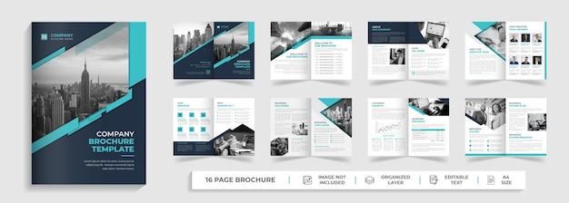 Modello di relazione annuale di modello di brochure aziendale bifold digitale creativo aziendale moderno di 16 pagine