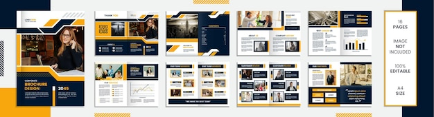 Modello di brochure di 16 pagine con forme minimali di design con colore nero e giallo.