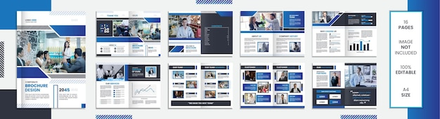 Modello di brochure da 16 pagine con forme minimali di design con colore blu.;