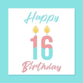 16 ° disegno di banner buon compleanno