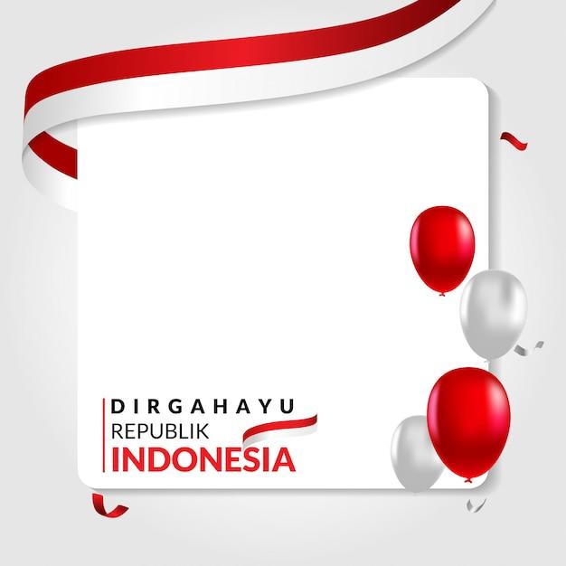 17 agosto modello di social media felice giorno dell'indipendenza dell'indonesia