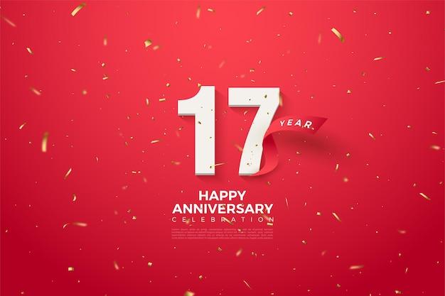 Sfondo del 17 ° anniversario con numeri e un nastro rosso curvo davanti ai numeri.