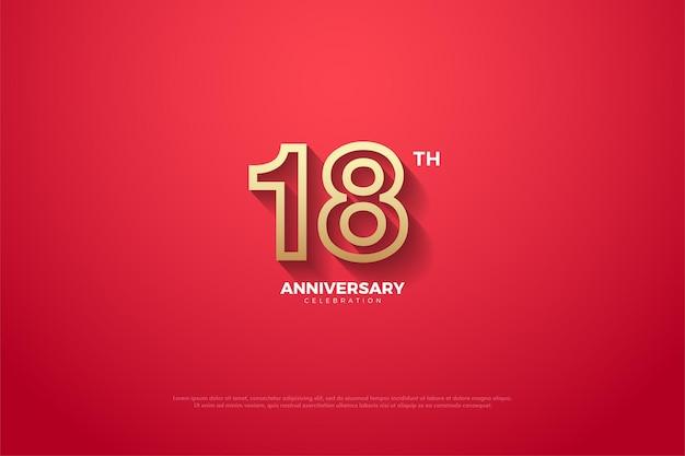 18° anniversario con numeri delineati in marrone