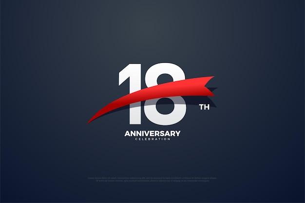 18° anniversario con numeri rossi appuntiti e illustrazione delle immagini