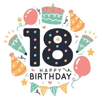 18 ° compleanno sfondo colorato design