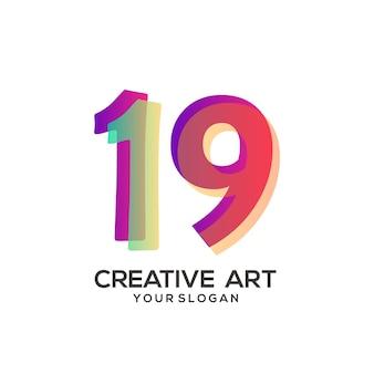 19 numeri logo design sfumato colorato