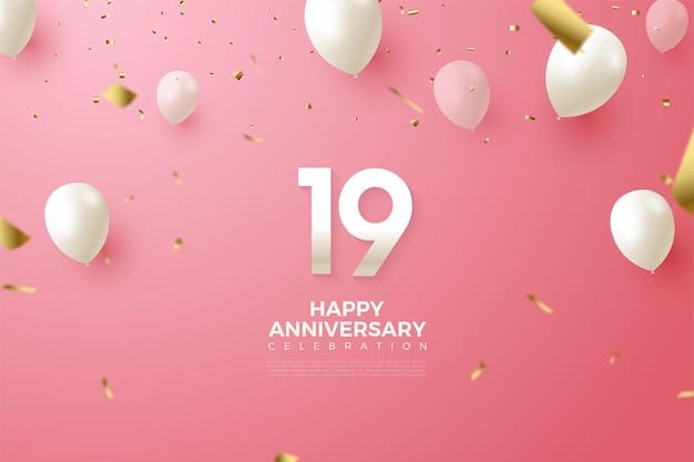19 ° anniversario con numeri e palloncini bianchi.