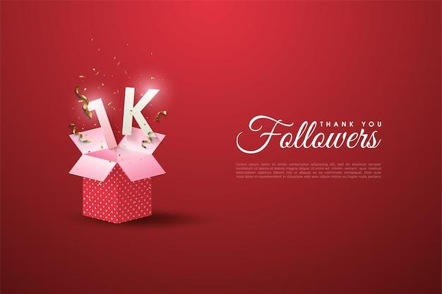 1k follower con illustrazione numerica su confezione regalo aperta.