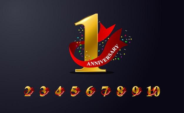 Design dell'emblema della celebrazione del 1 ° anniversario con colore dorato
